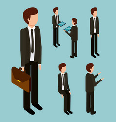 Business man with suit tie briefcase and gesture vector