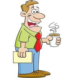 Cartoon man holding a cup of coffee vector image vector image
