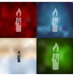 Christmas candle icon on blurred background vector