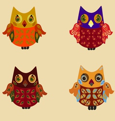 colorful owls vector image vector image