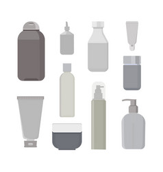 cosmetic bottles set beauty shampoo bottle vector image