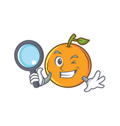 Detective orange fruit cartoon character vector