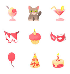 Fete day icons set cartoon style vector