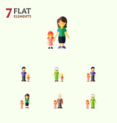 Flat icon relatives set of son grandpa vector