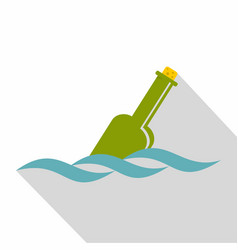 Glass green bottle in a water icon flat style vector