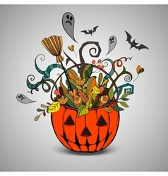 Halloween pumpkin and colorful items vector