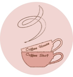 hand drawn logo coffee cup on pink background vector image vector image