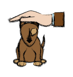 Hand with sick pet dog care design vector