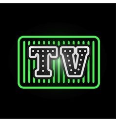 Light neon tv label vector
