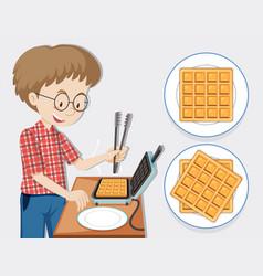Man making waffle with waffle maker vector