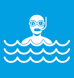 Man with scuba icon white vector