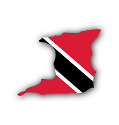 Map and flag of trinidad and tobago vector