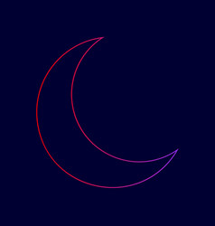 moon sign line icon with vector image
