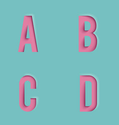 Paper cutout letters realistic 3d template design vector