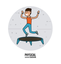 physical education - boy practice jumping vector image
