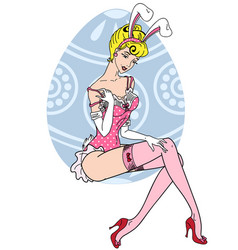 pretty pin up girl in easter bunny costume vector image vector image