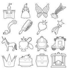 Princess accessories icons set outline style vector