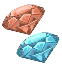 Red and blue precious faceted gems chips vector