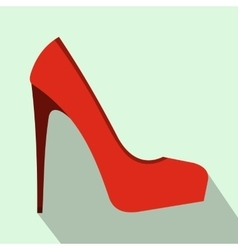 Red high heel women shoe icon flat style vector image