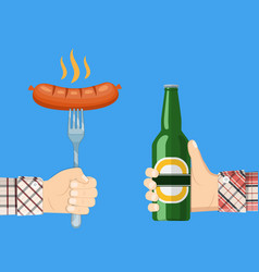 sausage on fork and bottle of beer in hand vector image vector image