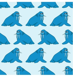 Seamless pattern from cartoon walruses vector