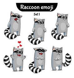 set of cute raccoon characters set 1 vector image