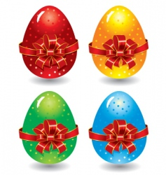 set of ornate Easter eggs vector image