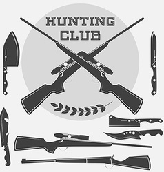 Set of retro weapons labels emblems and design vector