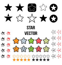 Set of star icons isolated on vector