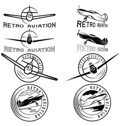 Set of vintage labels retro aviaton vector