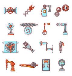 Technical mechanisms icons set cartoon style vector