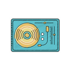 Turntable to listen and play music vector