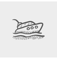 Yacht sketch icon vector