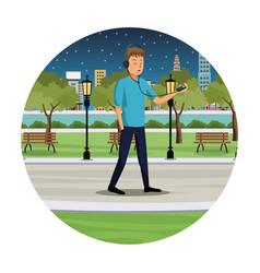 Young man listen music walk park view night vector