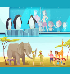 Zoo animals 2 cartoon banners vector