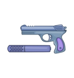 Pistol and silencer icon cartoon style vector