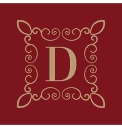 Monogram letter d calligraphic ornament gold vector