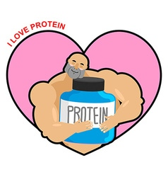 I love protein athlete and sports nutrition cute vector