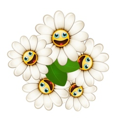 Bouquet of flowers with smiling daisies vector