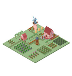 isometric agricultural landscape template vector image