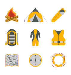 Rafting and tourism icons collection vector