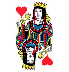 Queen of hearts isolated french version vector