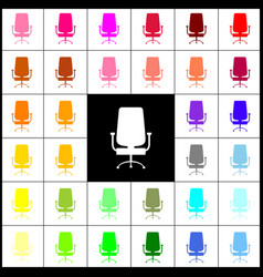 Office chair sign  felt-pen 33 colorful vector