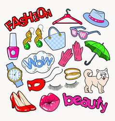 Woman fashion doodle with accessories and clothes vector