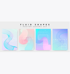 Poster covers set with fluid shapes vector