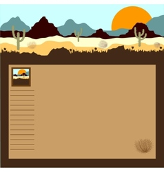 Desert mountains cactuses and tumbleweed vector