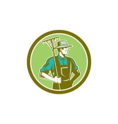 Organic farmer rake woodcut retro vector