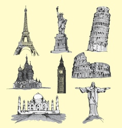 World travel landmarks hand drawn vector