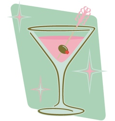 Retro martini with olive on frilly pick vector