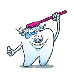 Cartoon happy tooth with brush vector
